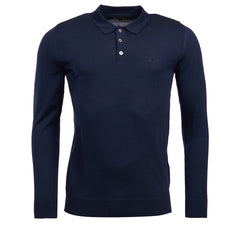 ID8059-Barbour Navy Long Sleeve Merino Polo