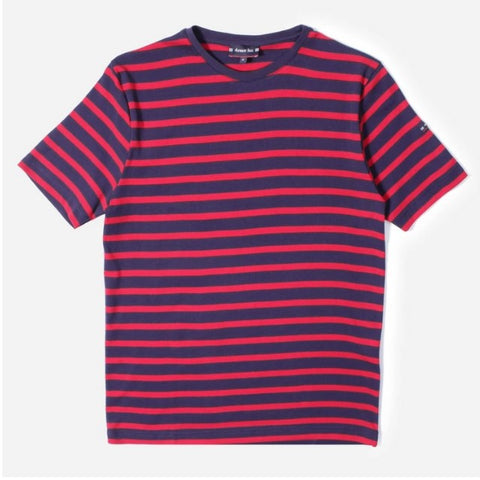 ID10092-Armor Lux Navy Red Hoop T-Shirt