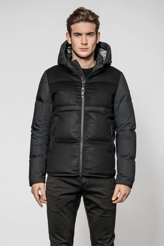 ID6168-Duno Black Palm  Puffa Coat
