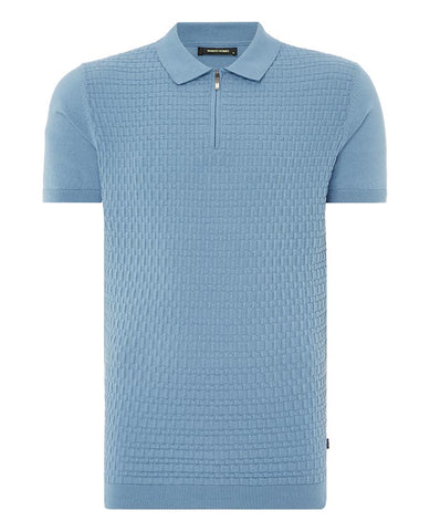Remus Uomo Knit Blue Polo-Shirt