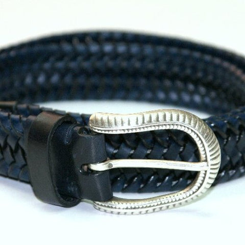 ID1436-Post Belt Navy Lattice Belt
