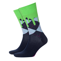 Burlington Lime Drippy Argyle Sock