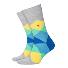 Burlington Clyde Grey Yellow Argyle Sock 5562