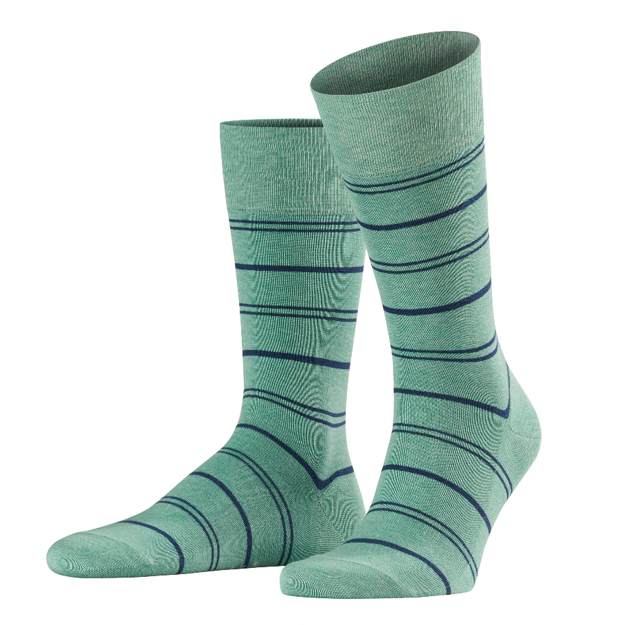 ID5566-Falke Washed Green/Navy Hoop Sock