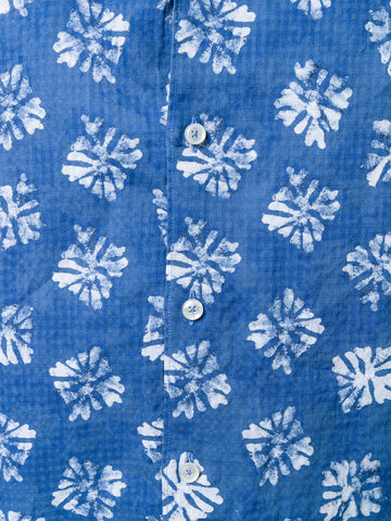 Xacus Washed Blue Flower Shirt