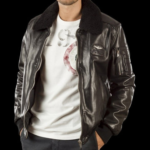 Aeronautica Militare Leather Pilot Jacket-4122