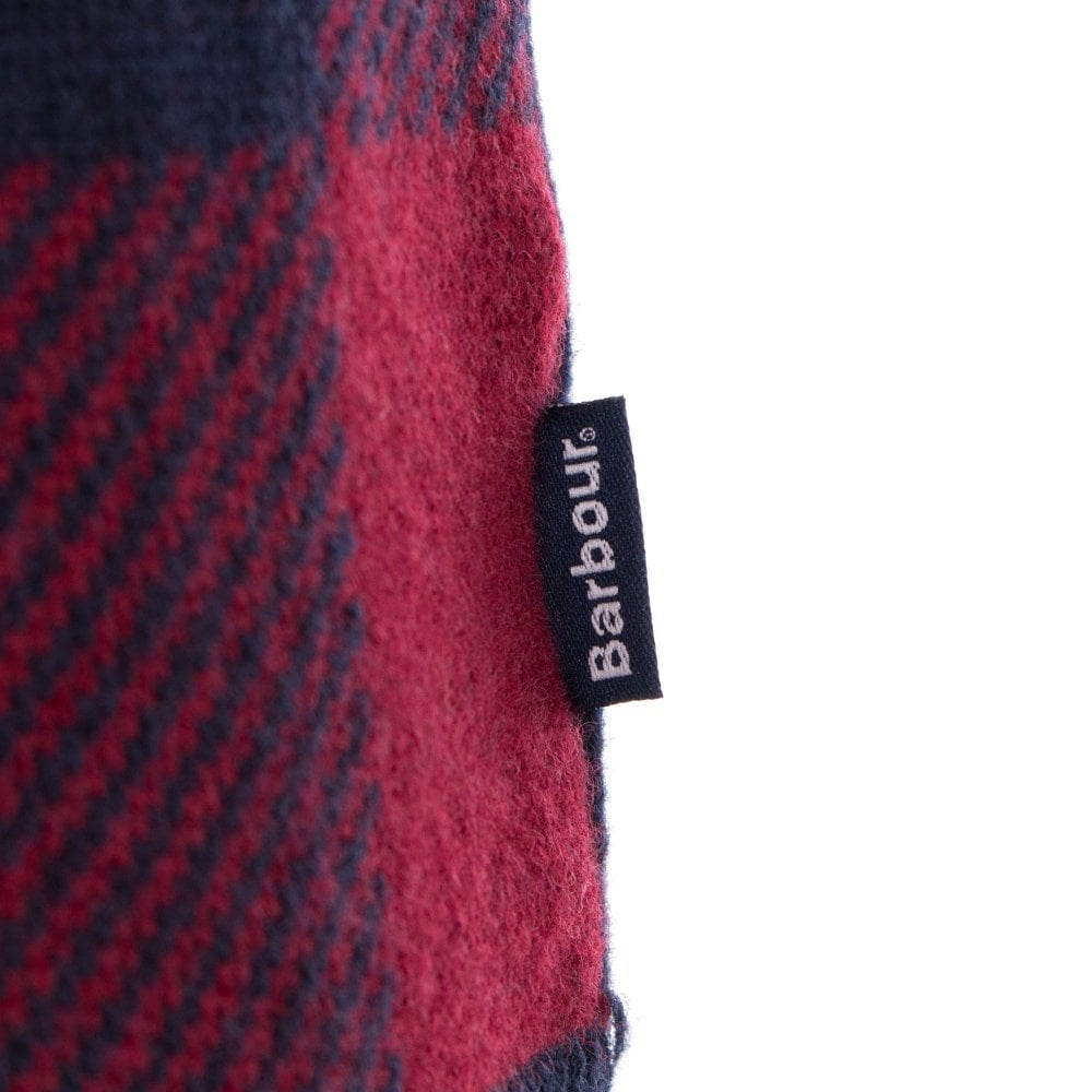 ID6204-Barbour Navy Red Buffalo Crew Knitwear
