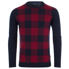 Barbour Navy Red Buffalo Crew Knitwear 6204