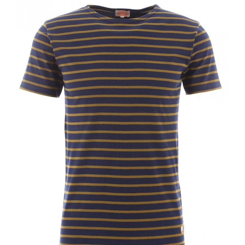 ID5237-Armor Lux Navy/ Brown Stripe T-Shirt