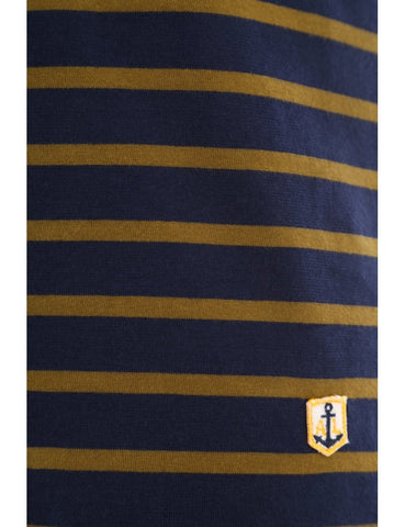 Armor Lux Navy/ Brown Stripe T-Shirt-5237