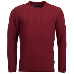 ID6221-Barbour Crastill Cable Crew Merlot