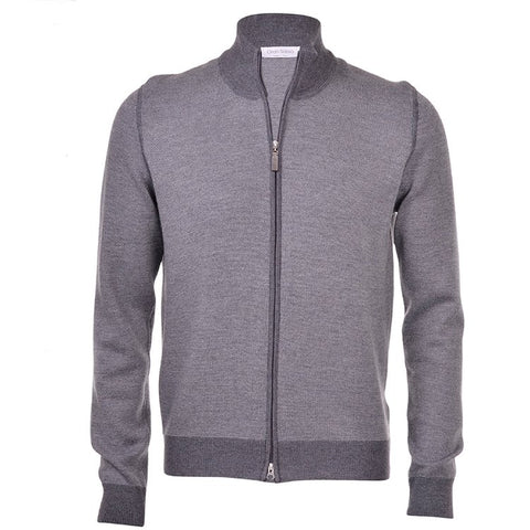 Gran Sasso Grey Salt and Pepper Stitch Cardigan