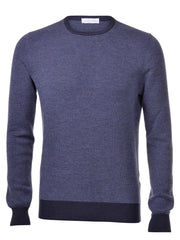 Gran Sasso Navy Crew Neck Rice Stitch Knitwear