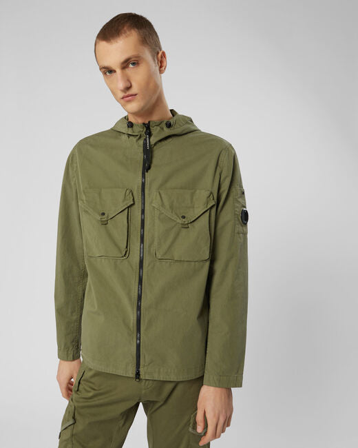ID10051-CP Company Hooded Double Pocket Overshirt Olive