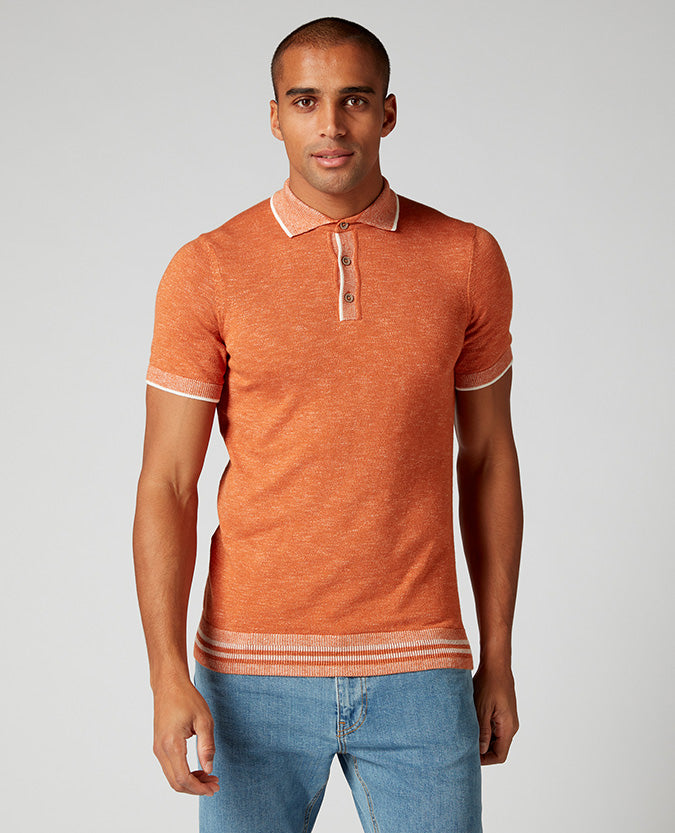 ID10289-Remus Orange Knitted Polo Moulinex