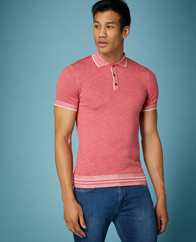 ID10288-Remus Raspberry Knitted Polo Moulinex