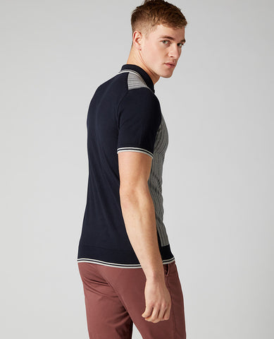 ID10294-Remus Navy  Multi Stripe Polo
