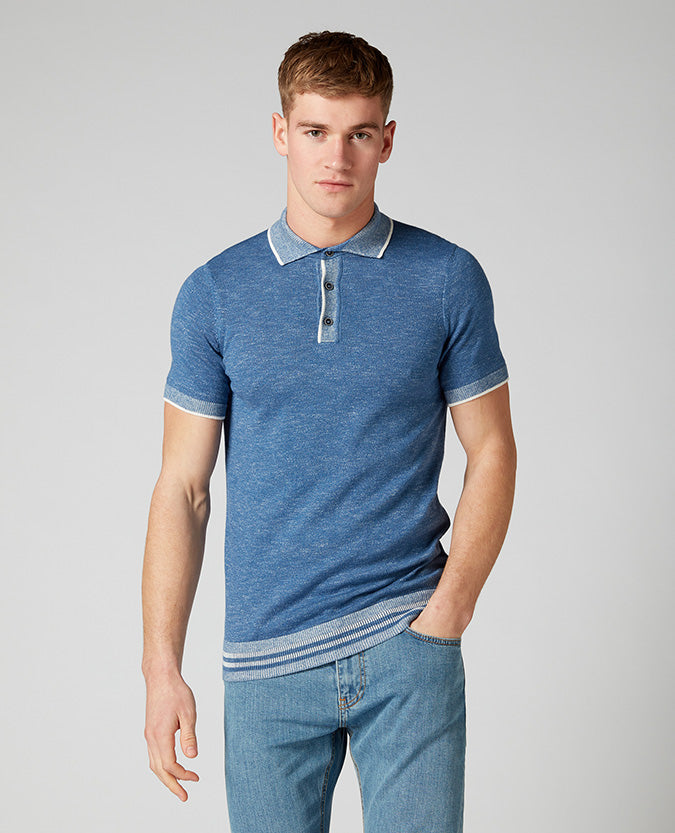 ID10290-Remus Blue Knitted Polo Moulinex