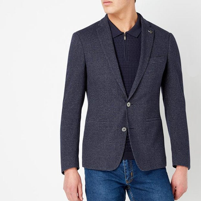 Remus Uomo Navy/ Grey Textured Blazer
