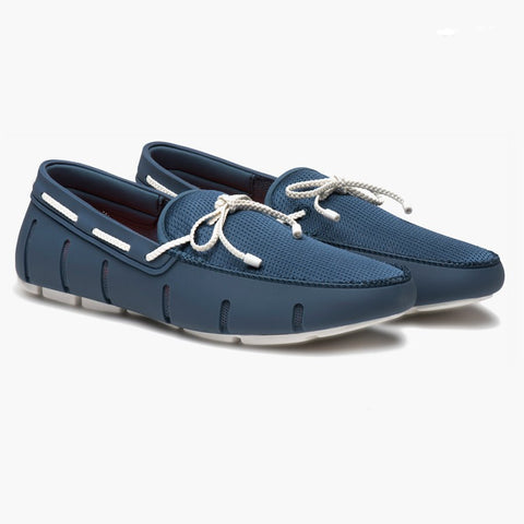 SWIMS Braided Lace Loafer Slate White 5617