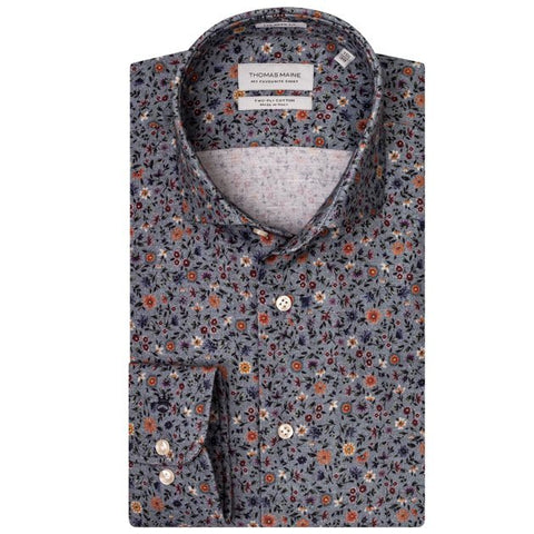 ID8262-Thomas Maine Shirt Floral Flannel