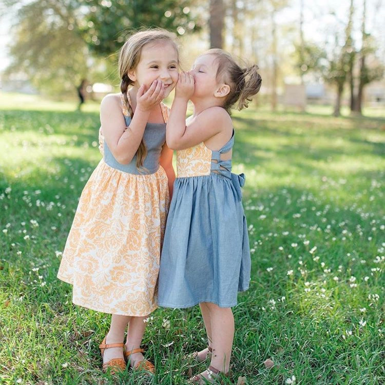 Girls Chambray Lace Up Dress