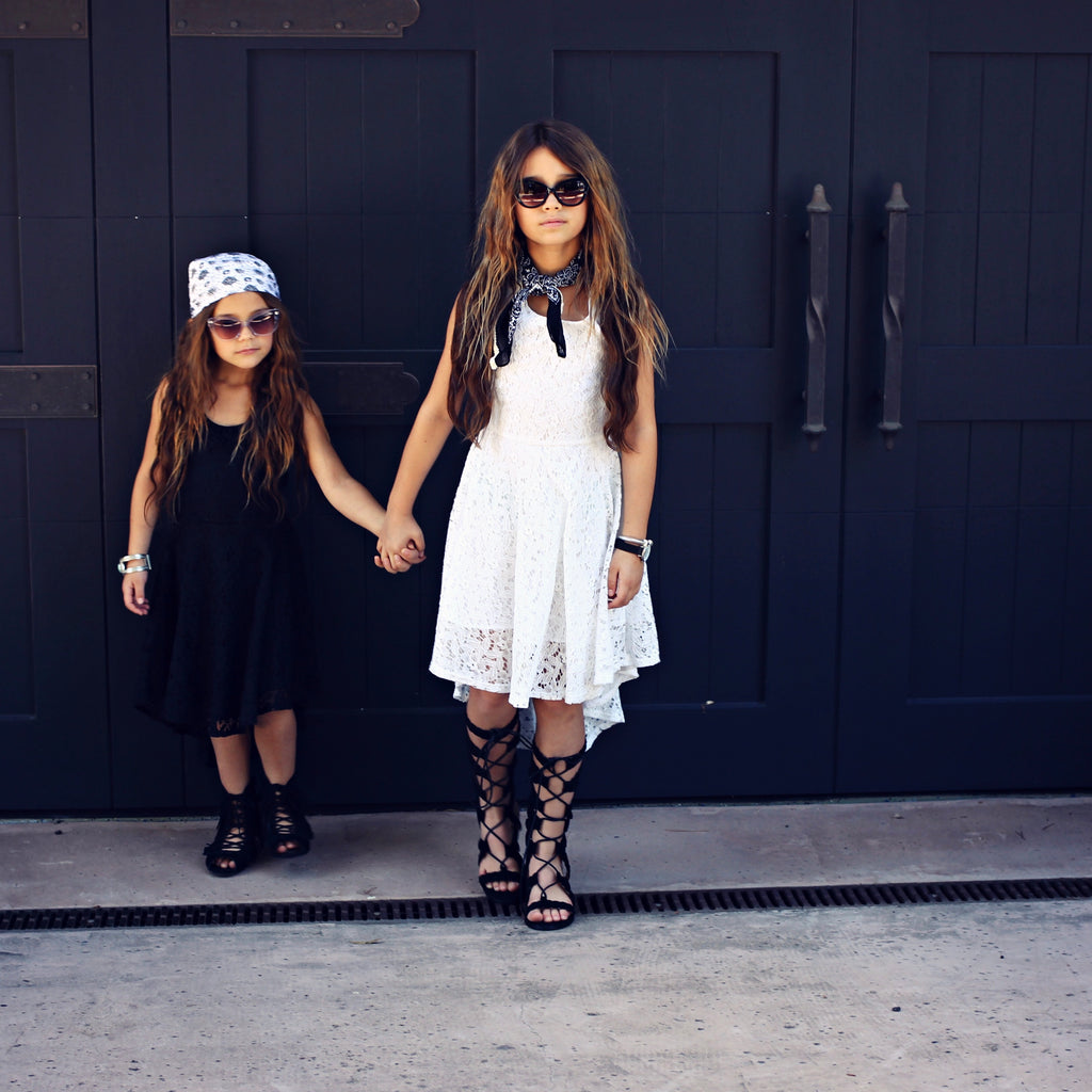 Girls White Lace Up Dress