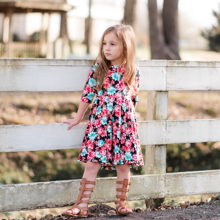 Girls Floral Twirly Dress