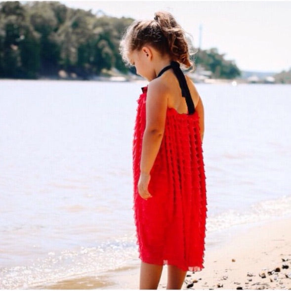 Girls Coral Ruffle Tier Dress
