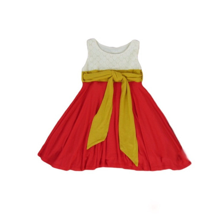 Girls Tricolor Red Coral Dress