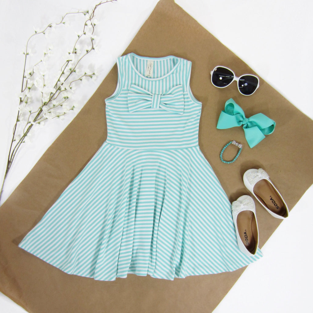 Girls Mint Striped Dress - Liberty Lark
