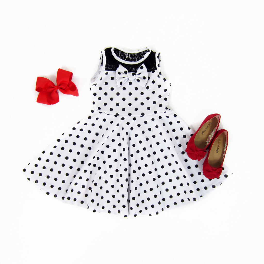 Girls Black Polkadot Dress - Liberty Lark