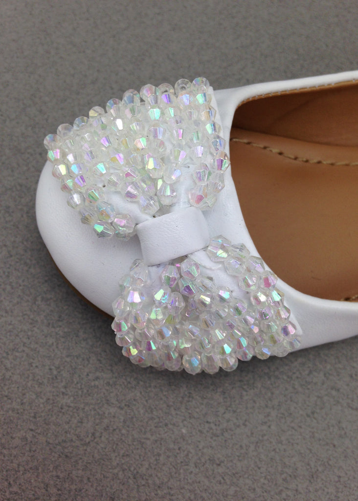 Girls White Beaded Bow Flats