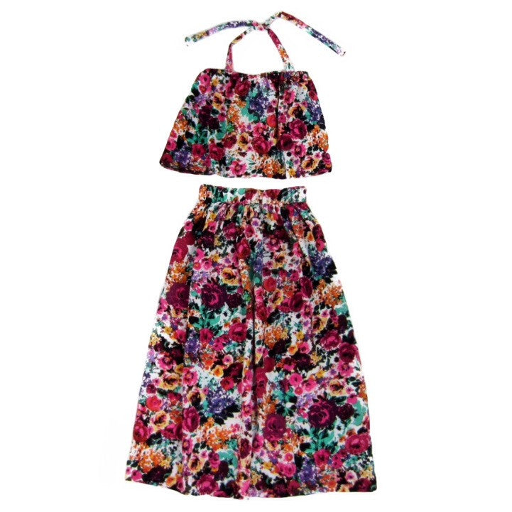 Girls Floral Flounce Top & Maxi Skirt Set
