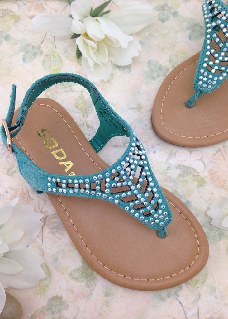 Girls Teal Cut Out Sandals