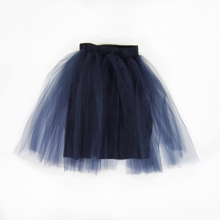 Girls Navy Blue Tulle Midi Skirt