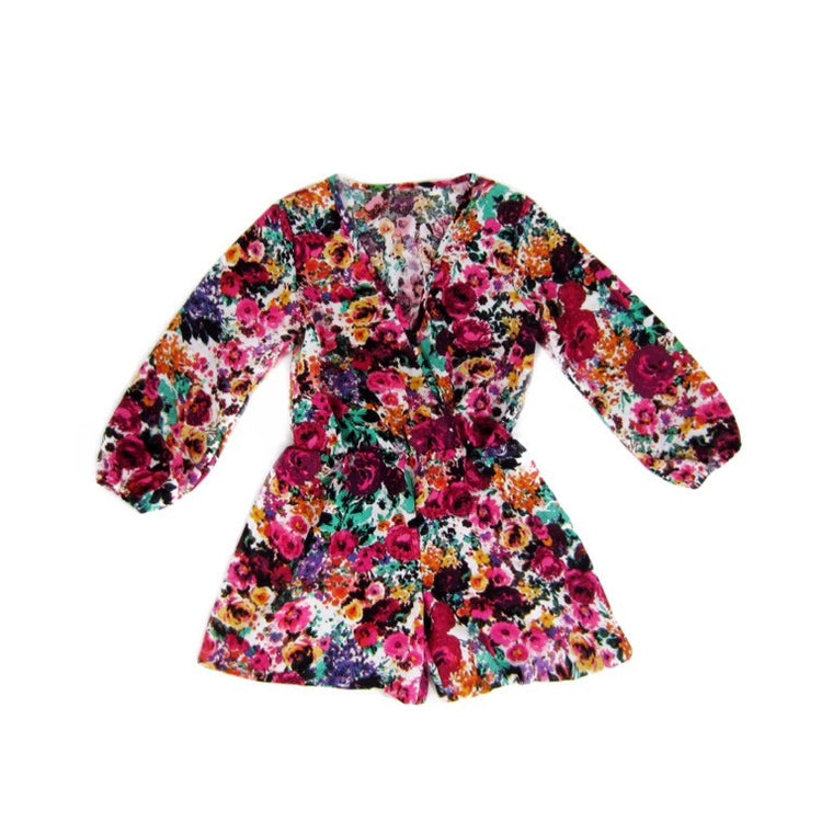 Girls Floral Surplice Romper