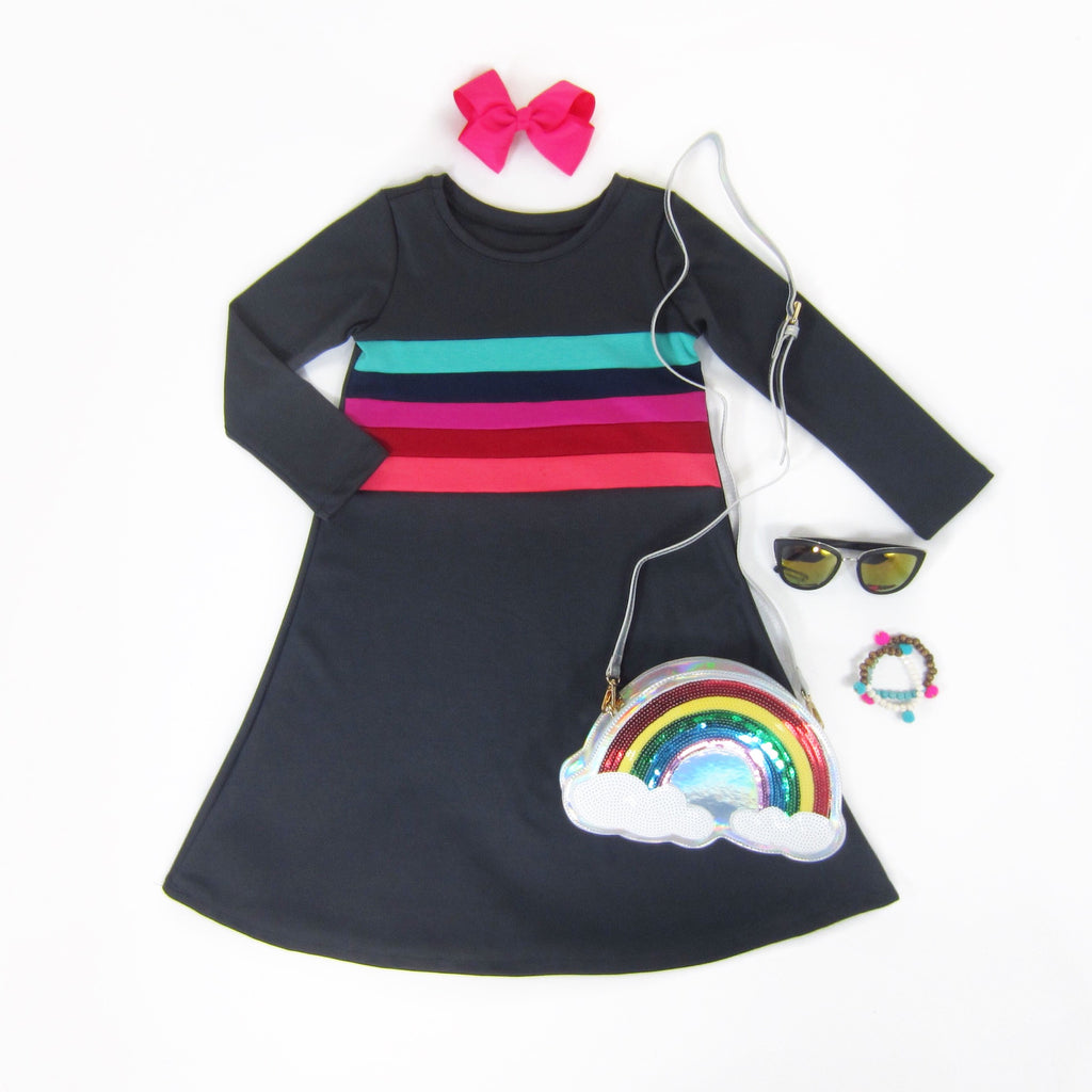 Girls Charcoal Rainbow Dress