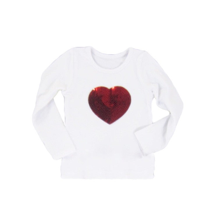 White Long Sleeve Red Heart Top