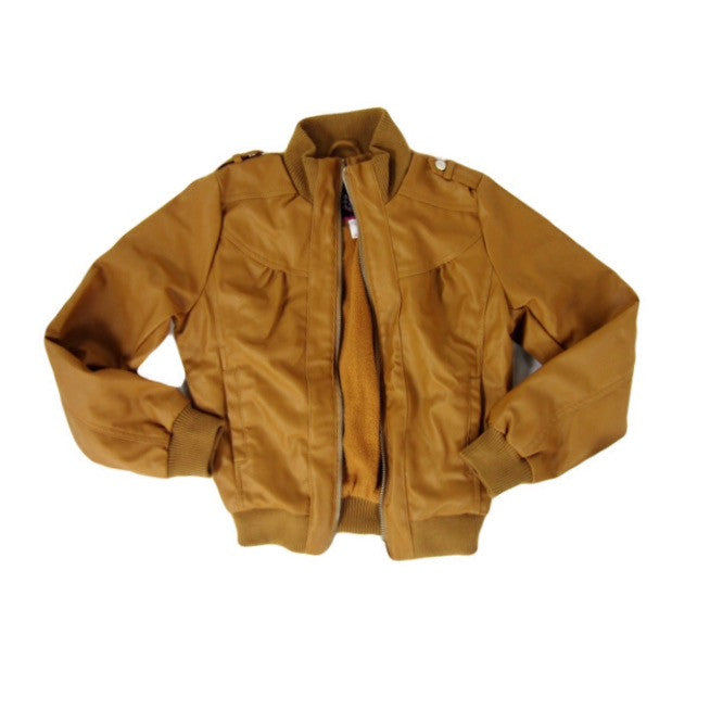 Girls Tan Bomber Jacket