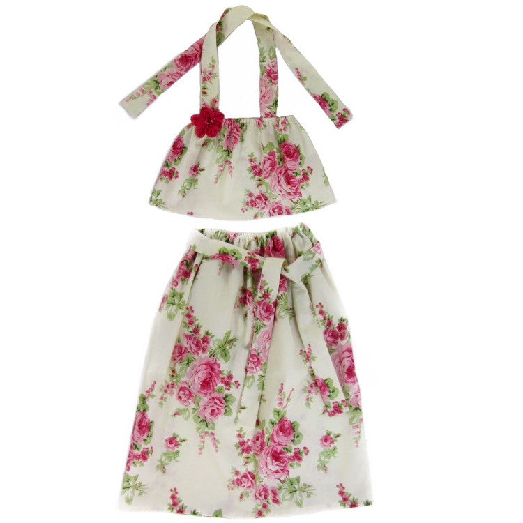 Girls Rose Flounce Top and Maxi Skirt Set