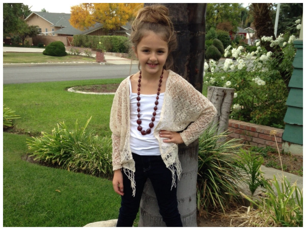 Girls Boho Cream Fringe Cardigan