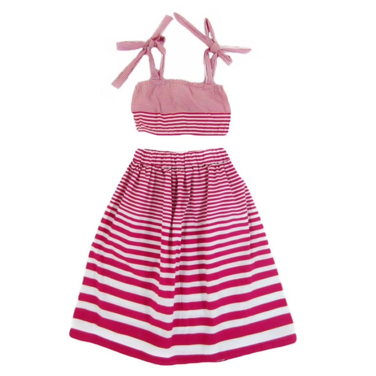 Toddler Girl Striped Maxi Skirt and Crop Top Set