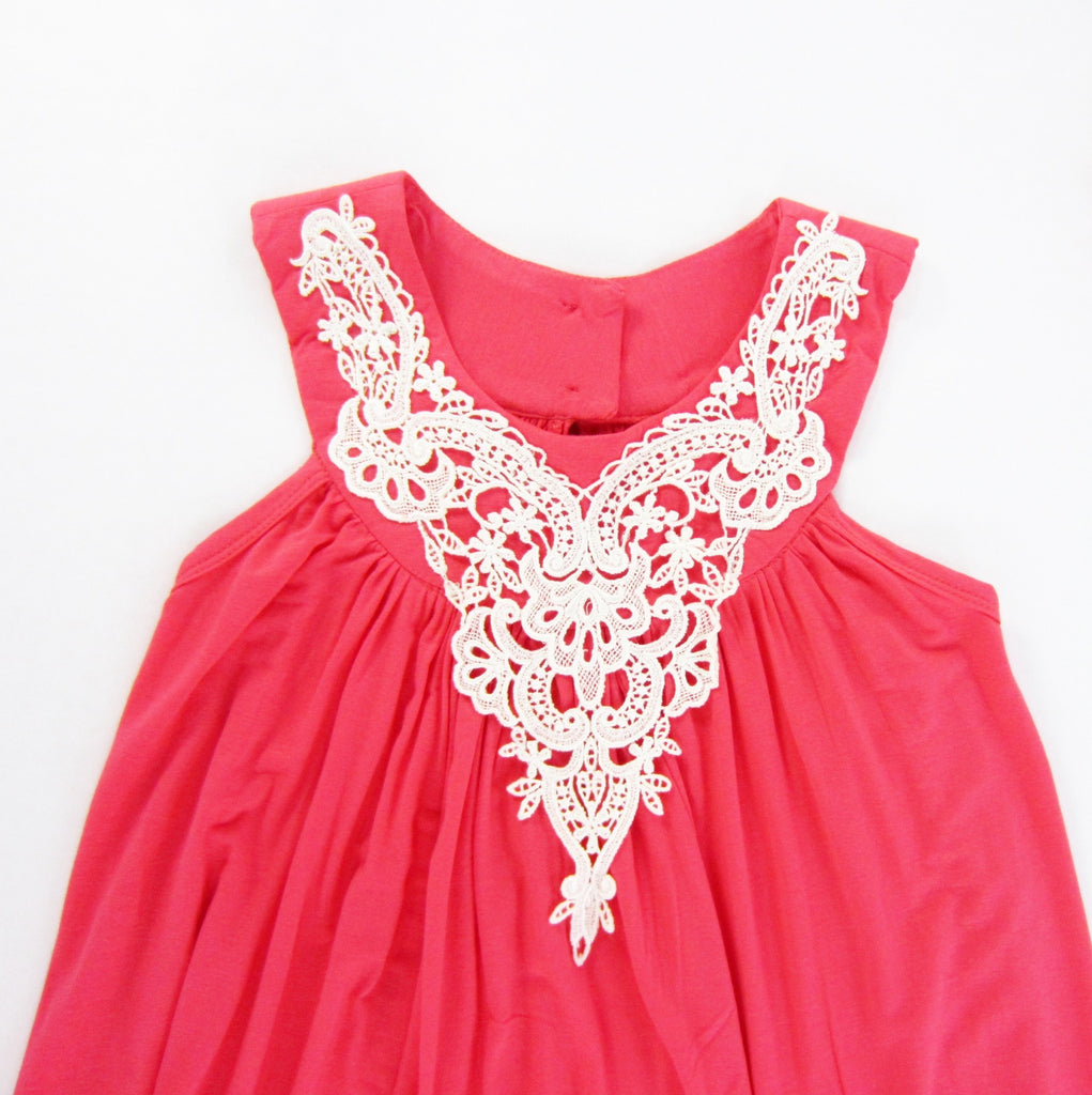 Girls Ivory Appliqué Coral Dress