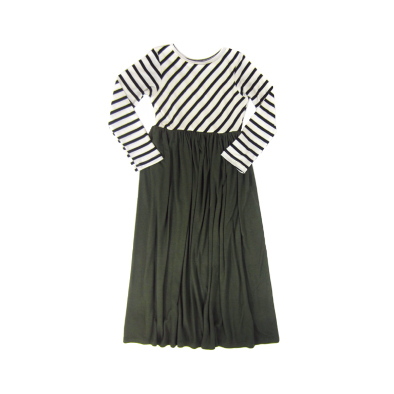 Girls Striped Olive Maxi Dress