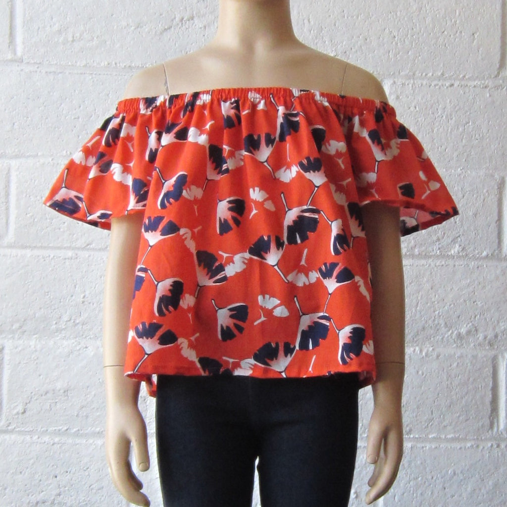 Girls Orange Off-the-Shoulder Top