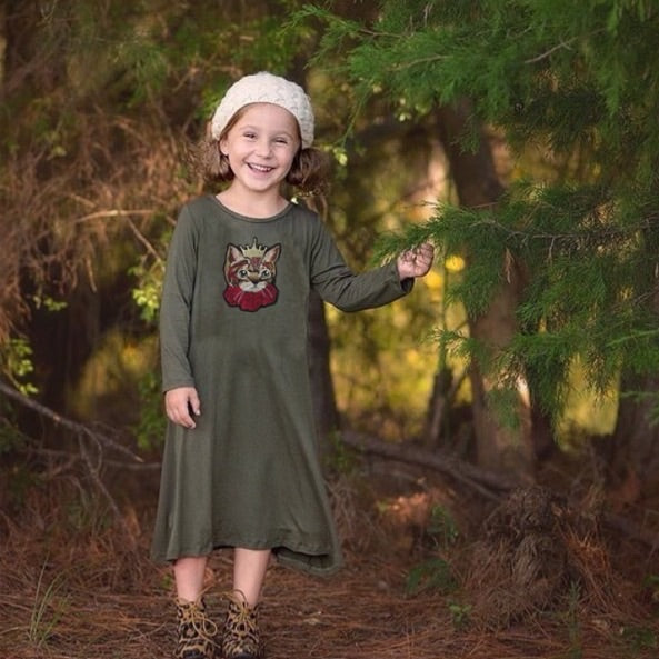 Girls Olive Green Cat Dress