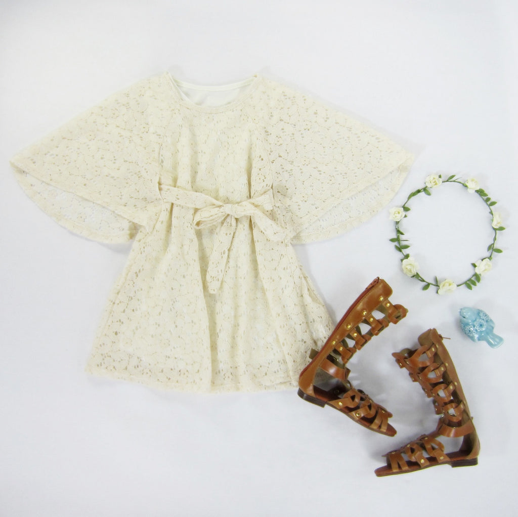 Girls Cream Lace Kimono Dress - Liberty Lark