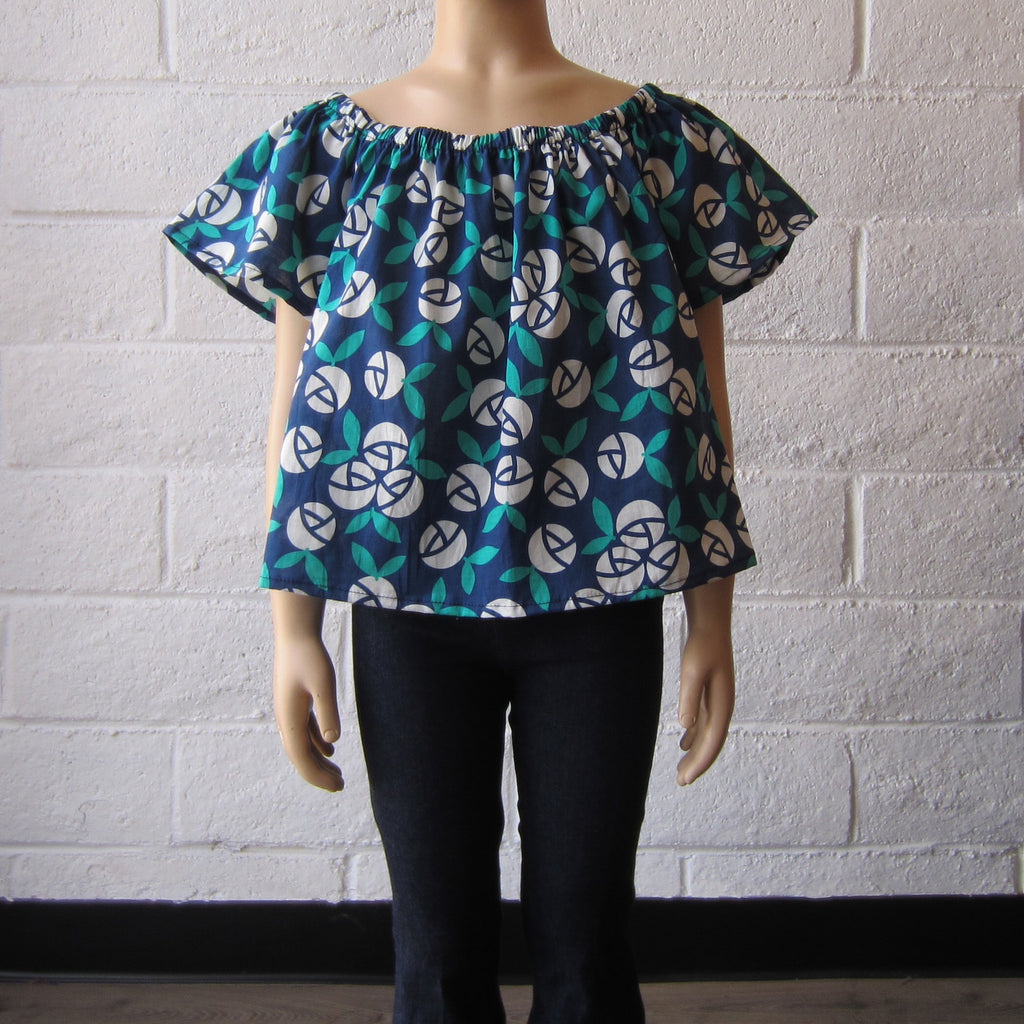 Girls Blue Floral Top
