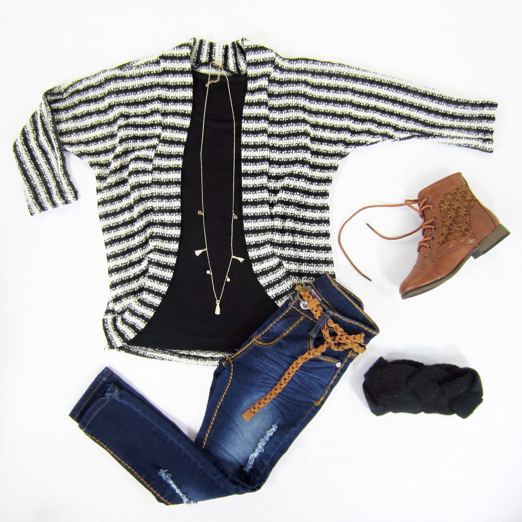 Girls Knit Striped Cardigan
